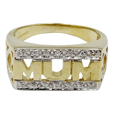 9ct Yellow Gold Cubic Zirconia 'MUM' Ring Detailed Shoulders Size M 4.1g 8.8mm