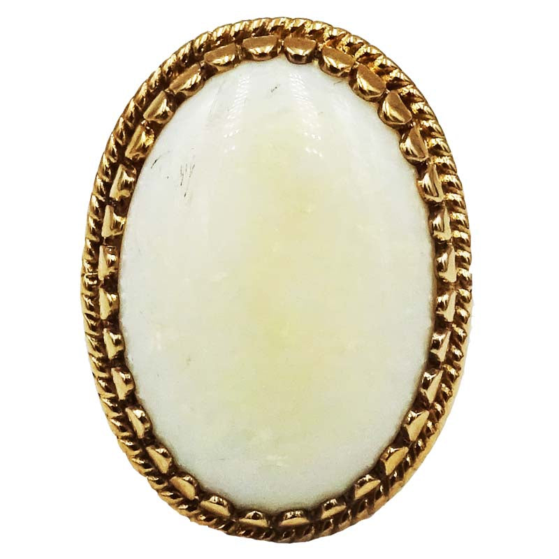 9ct Yellow Gold Ladies Large Oval Opal Ring Size M 4.6g 21mm - Richard Miles Jewellers