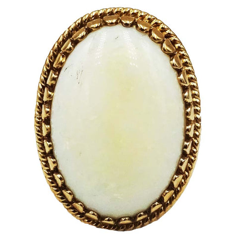 9ct Yellow Gold Hall Marked Ladies Quality Large Oval Opal Ring Size M 4.6g 21mm