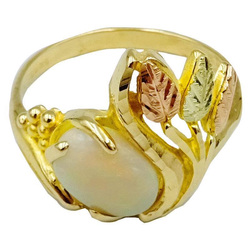 9ct Yellow Rose Gold Cabochon Opal Floral Patterned Design Ladies Ring Size N 3.5g - Richard Miles Jewellers