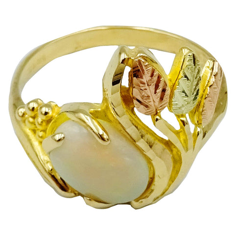 9ct Two Tone Yellow Rose Gold Cabochon Opal Floral Patterned Design Ladies Ring Size N 3.5g