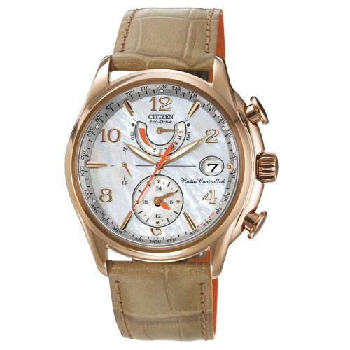 Citizen Ladies Eco-Drive Taupe/Orange World Time Watch BM7334-58L RRP £369 - Richard Miles Jewellers