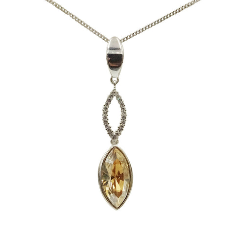 "Silver Ladies Swarovski Marquise Pendant 16"" chain - Richard Miles Jewellers"