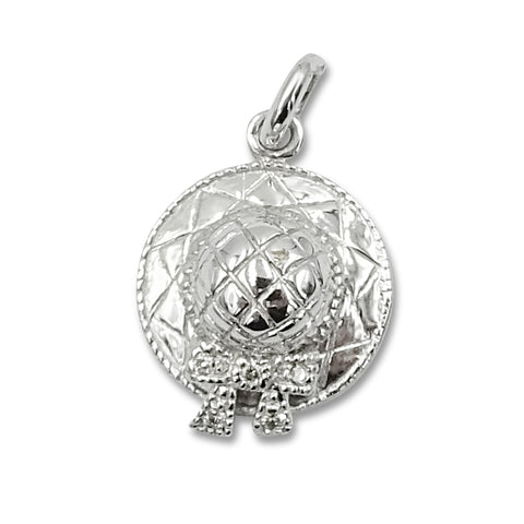9ct White Gold and Diamond Sun Hat Charm Pendant .15ct