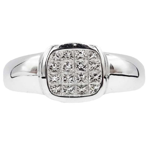 18ct White Gold 1ct Colour G Clarity SI1 Diamond Mens Luxury Statement Cluster Ring Size W 8.4g - Richard Miles Jewellers
