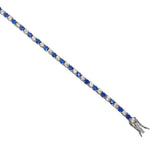 "Silver Ladies Synthetic Blue & White Cubic Zirconia Design Bracelet 7"" - Richard Miles Jewellers"
