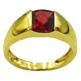 18ct Yellow Gold Quality Garnet Centre Stone Ladies Ring Size M 3.6g - Richard Miles Jewellers