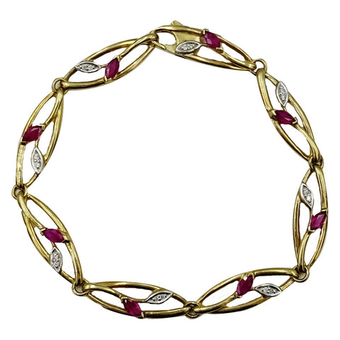9ct Yellow Gold Oval Ruby & 0.16ct Diamond Fancy Floral Ladies Bracelet 7.25inch 7.3g