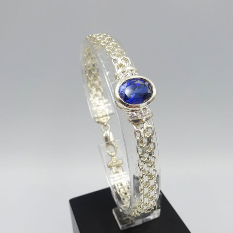 Sterling Silver Ladies Fancy Blue Cubic Zirconia Bracelet 7.25""