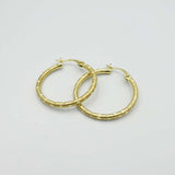 14ct Yellow Gold Engraved Texture Hoop Earrings 24mm