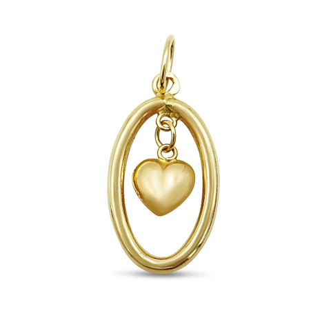 18ct Yellow Gold Oval Heart Pendant