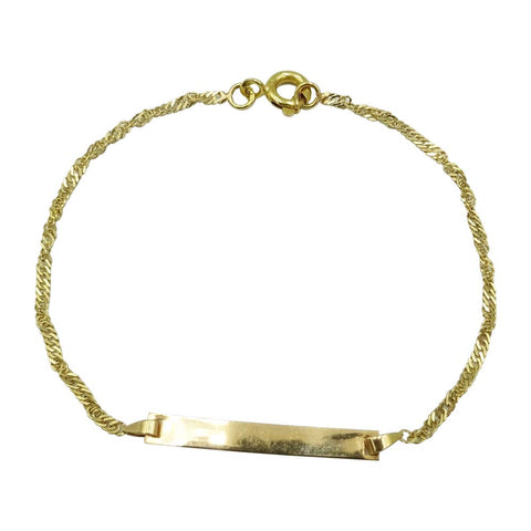 18ct Yellow Gold Small Childrens Twist Curb ID Bracelet