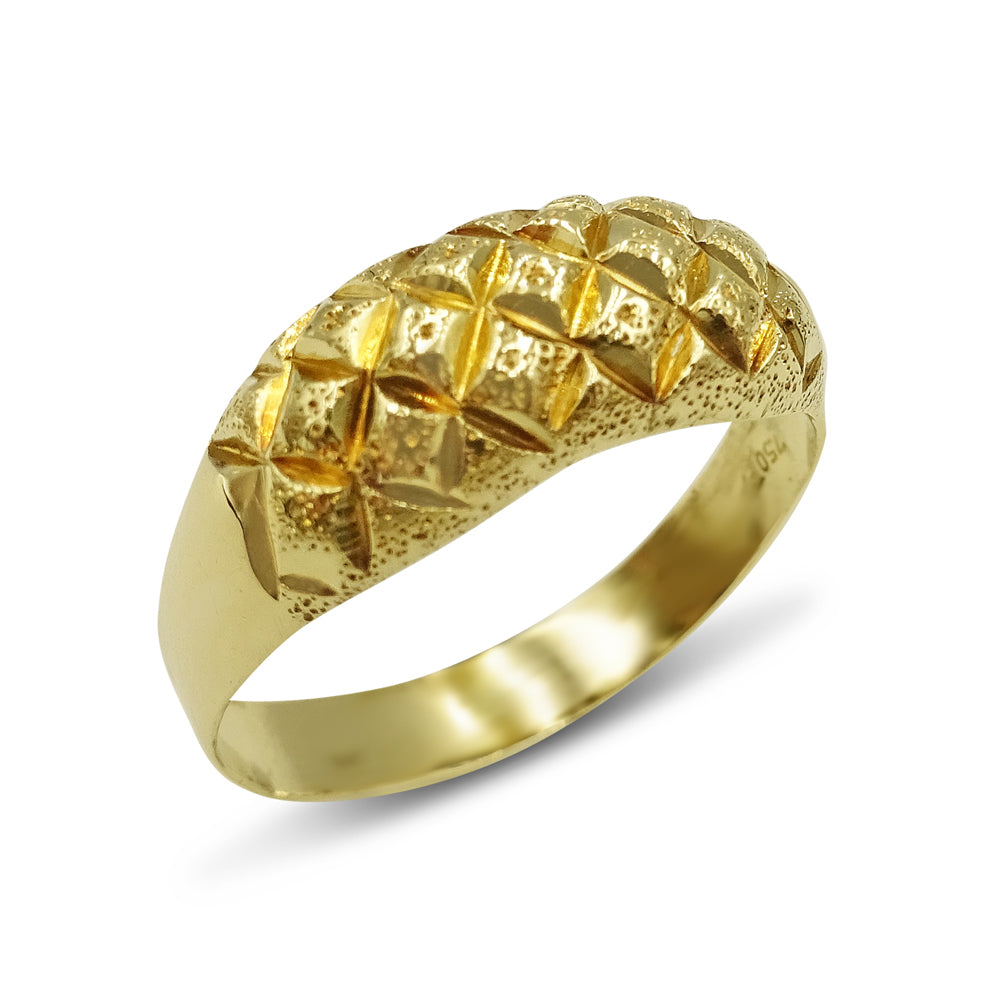 18ct Yellow Gold Geometric Patterned Keeper Style Ring Size R
