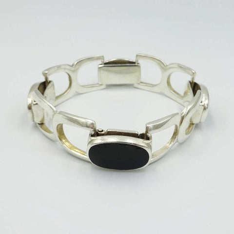 Sterling Silver and Onyx Buckle Link Ladies Bracelet 7""
