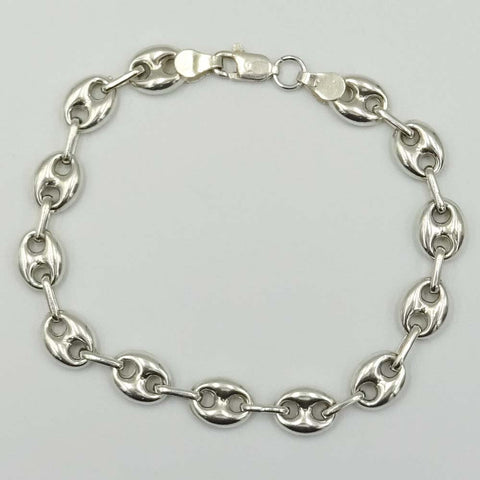 Sterling Silver Coffee Bean Link Bracelet 8""