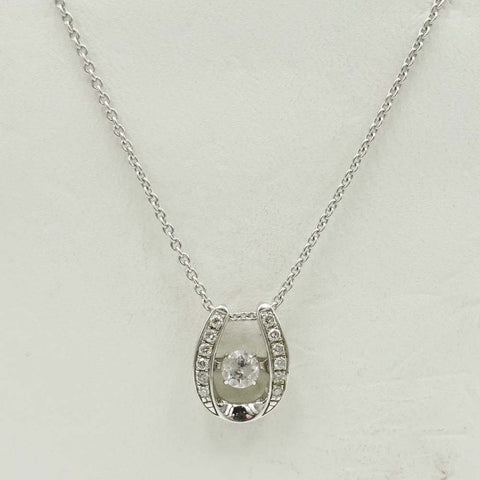 9ct White Gold Diamond 0.35ct Horseshoe Pendant with Fine Chain 18""