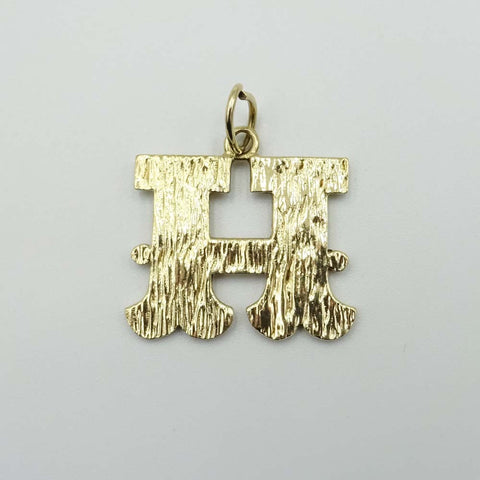 "9ct Yellow Gold Large ""H"" Initial Pendant"