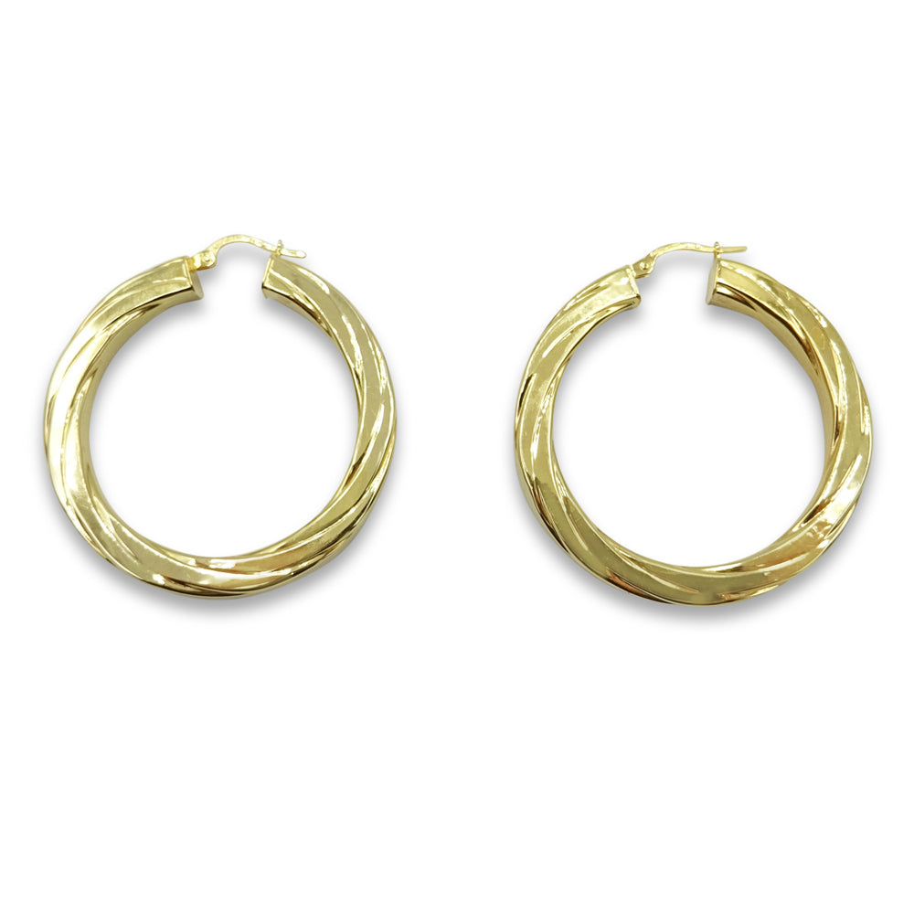 9ct Yellow Gold Flat Twist Creole Hoop Earrings