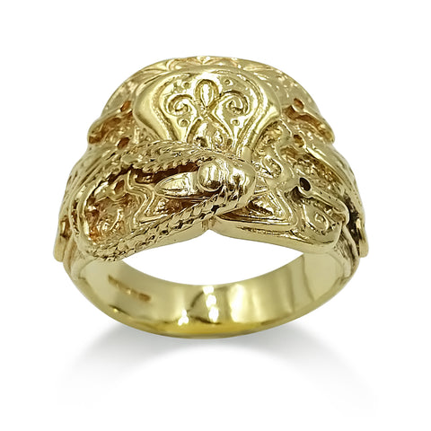 9ct Yellow Gold Saddle Mens Ring Size W