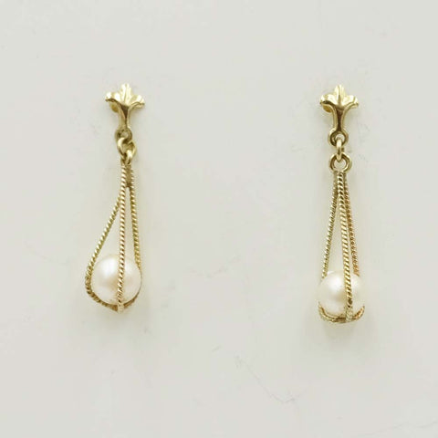 9ct Yellow Gold Caged Pearl Drop Earrings