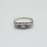 9ct White Gold Ruby and Diamond Ring Size Q