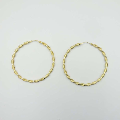 9ct Yellow Gold Large Twist Hoop Earrings 58mm