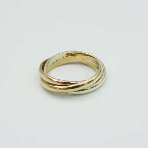 9ct Yellow Gold 3 Colour Russian Ring Size H