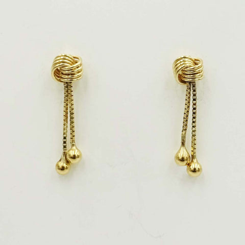 9ct Yellow Gold Knot Stud Drop Earrings