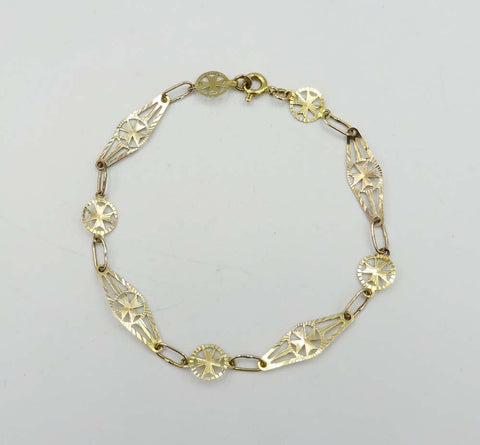 9ct Yellow Gold Celtic Cross Link Bracelet