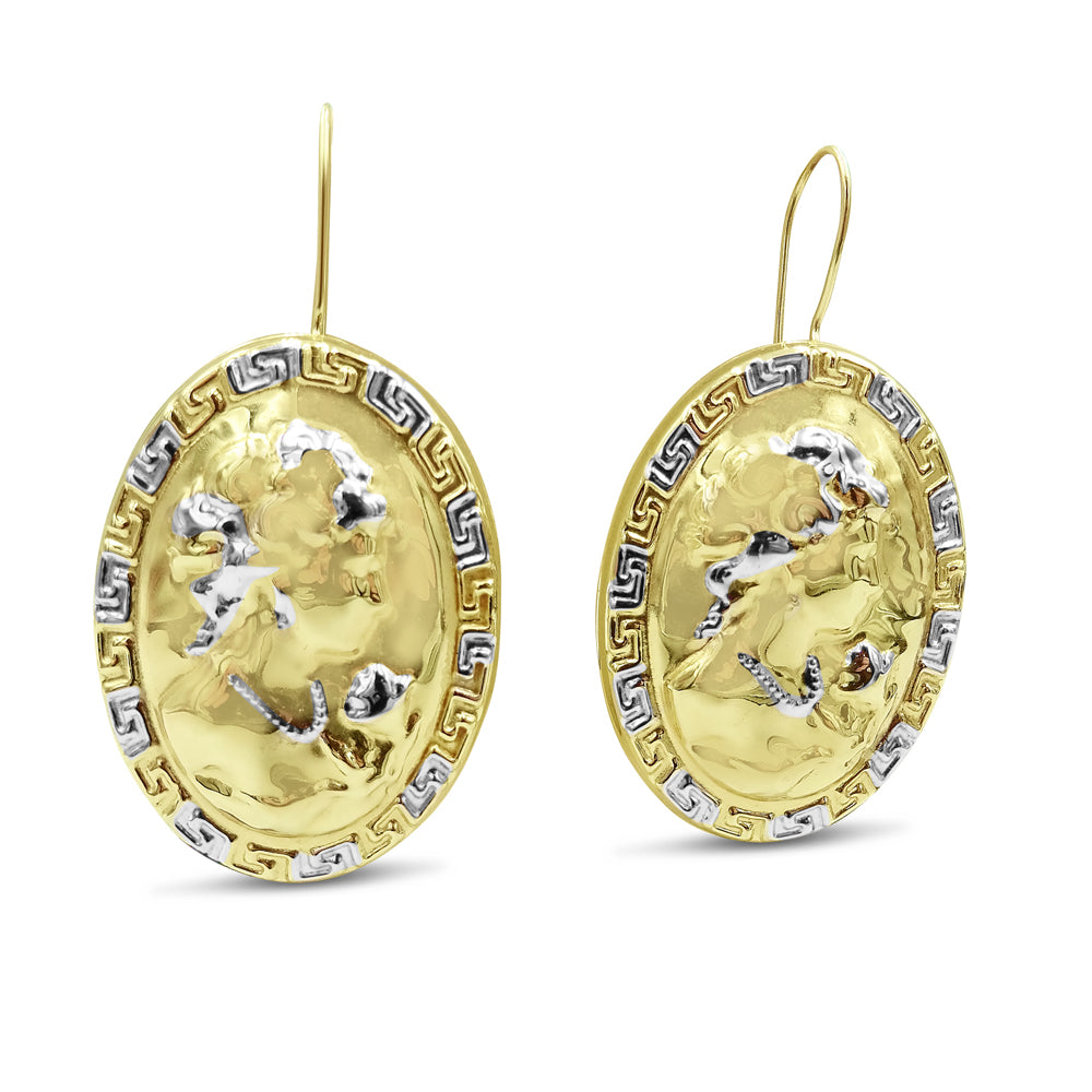 14ct Yellow Gold Unique Oval Cameo Portrait Earrings