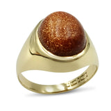 9ct Gold Mens Oval Goldstone Glass Signet Ring Size O
