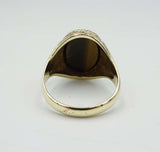 9ct Gold Mens Oval Tiger Eye Signet Ring Size V