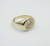 9ct Gold Mens Textured Tree Bark  Diamond Signet Ring Size U