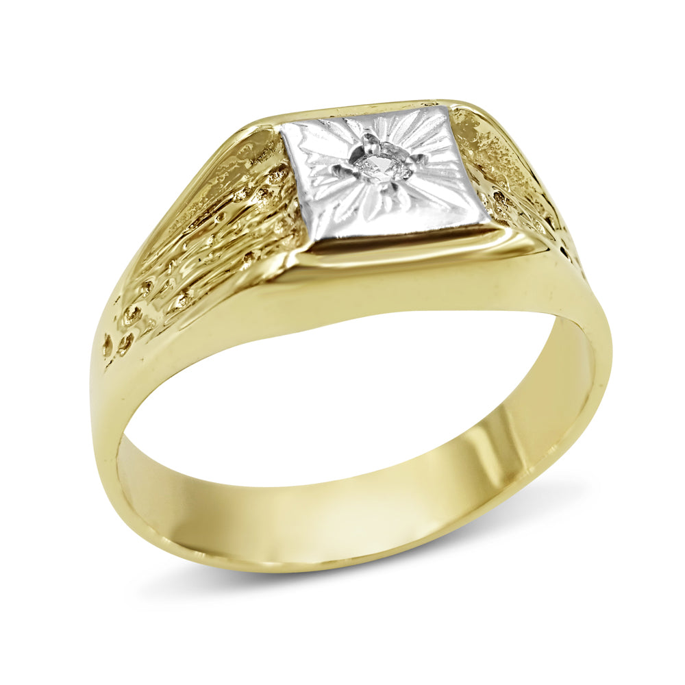 9ct Gold Diamond Mens Square Signet Ring Size W