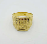 22ct Asian Gold Engraved Geometric Mens Ring Size W 1/2