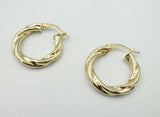 9ct Yellow Gold Creole Twist Hoop Earrings