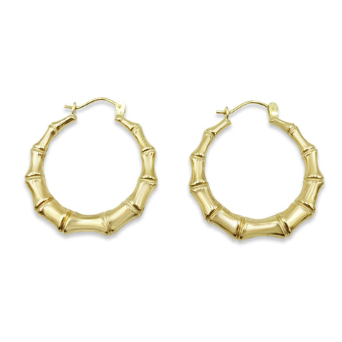 9ct Yellow Gold Bamboo Pattern Creole Hoop Earrings