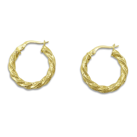 9ct Yellow Gold Textured Twist Creole Hoop Earrings