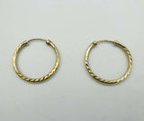 9ct Yellow Gold Patterned Sleeper Hoop Earrings 18mm