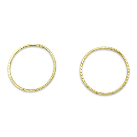 9ct Yellow Gold Patterned Hinge Hoop Earrings 18mm