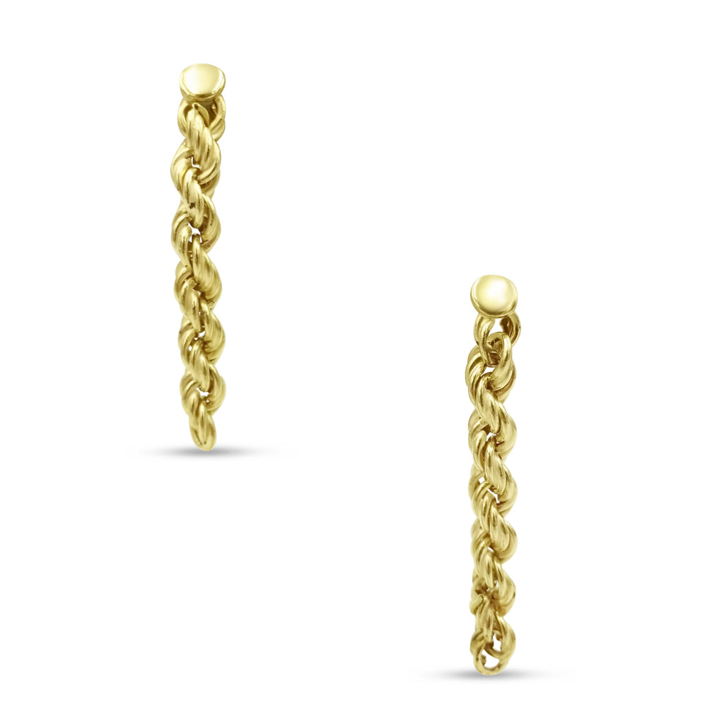 9ct Yellow Gold Rope Chain Drop Stud Earrings