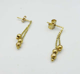 9ct Yellow Gold Beaded Drop Stud Earrings