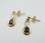 9ct Yellow Gold Sapphire and Diamond Drop Stud Earrings