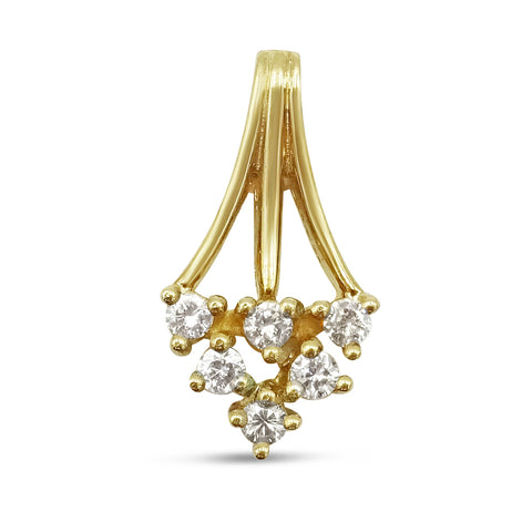 9ct Yellow Gold Diamond Art Deco Style Flower Pendant