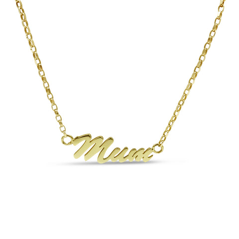 "9ct Yellow Gold ""Mum"" Fine Belcher Chain Necklace 18"""