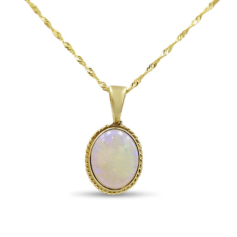 9ct Yellow Gold Ladies Oval Opal Pendant With Fine Curb Twist Chain
