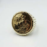 22ct Yellow Gold Full Sovereign 1873 Mens Mount Ring Size U 1/2