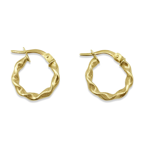 9ct Yellow Gold Small Creole Twist Hoop Earrings