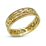 9ct Yellow Gold Cut Leaf Pattern Band Ring Size R 1/2