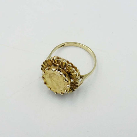 9ct Yellow Gold Small Coin Ring Size K 1/2